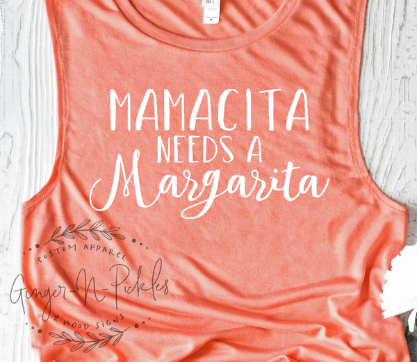 Mamacita Needs A Margarita Muscle Tank, Margarita Tank Top, Margarita Shirt, Cinco De Mayo Shirt, Margarita Girl Shirt, Drinking Tank Top