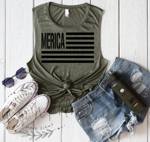 Merica Flag Muscle Shirt, Patriotic 4th of July Shirt America Shirt Merica Shirt Army Green Military Style American Flag Shirt USA Tank Top