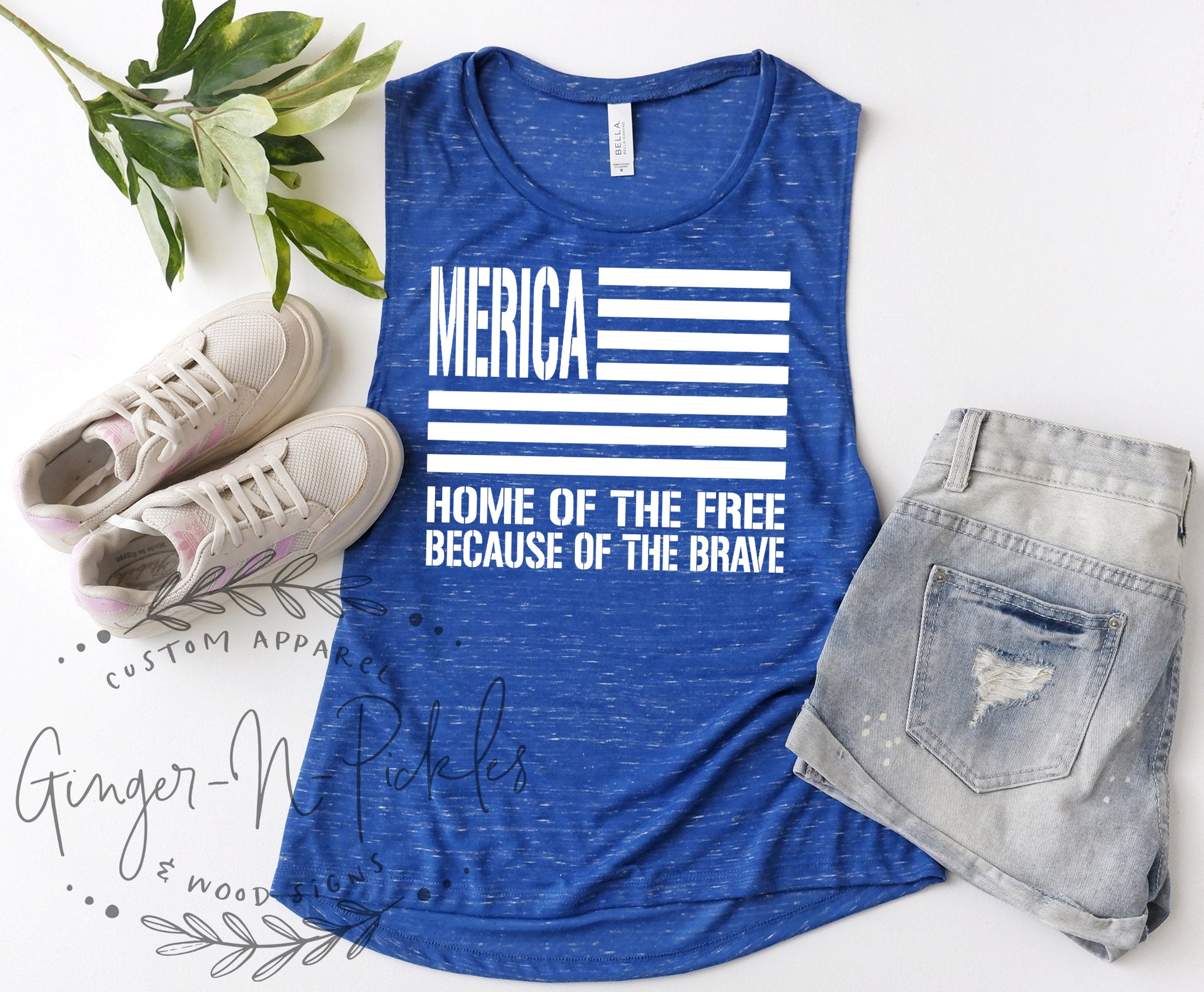 Merica Home of the Free Because of the Brave Shirt, Patriotic Memorial Day 4th of July Shirt Military Support American Flag USA Tank Top