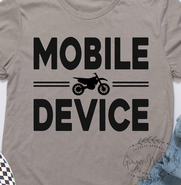Dirt Bike Mobile Device Short Sleeve Unisex T-Shirt, Funny You Can Reach Me on My Moto Mobile Device Shirt, Race Day Tee