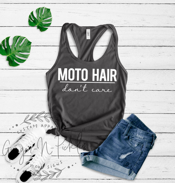 Moto Hair Don't Care Racerback Tank Top, Ladies Dirt Bike Riding Scoopneck Tee, V-Neck Tee or Tank Top, Dirt Bike Shirt