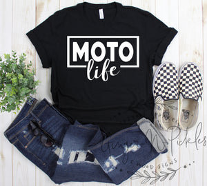 Moto Life Shirt, Dirt Bike Moto Offroad Riding Short Sleeve Shirt Race Day Moto Mom Moto Dad Shirt Motocross SXS UTV Shirt