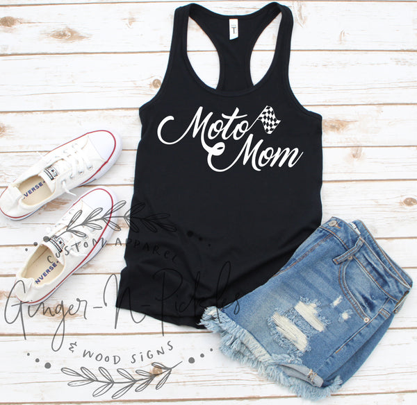 Moto Mom Racerback Tank Top, Moto Mom Dirt Bike Racing Shirt Dirt Bike Mom Shirt, Drag Racing, Offroad Racing, Dirt Track Racing, Race Mom Shirt