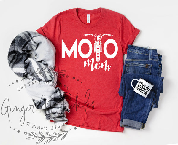 Moto Mom Personalized Dirt Bike Shirt, Add Your Rider Name and Number to the Bike Unisex Short Sleeve Moto Mom Race Day Shirt