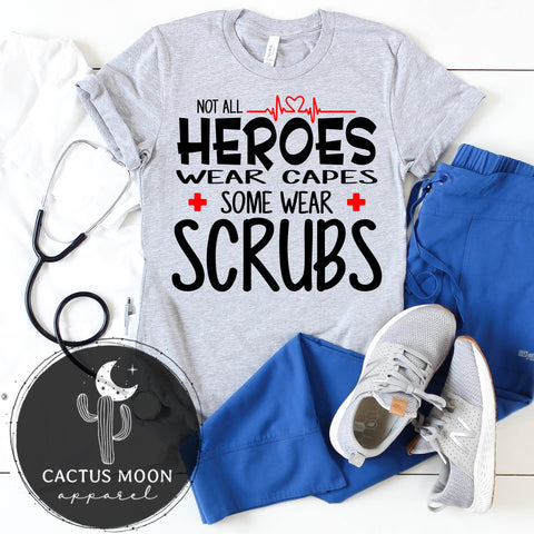 Not All Heroes Wear Capes Some Wear Scrubs Short Sleeve Unisex T-Shirt, My Hero Wears Scrubs Shirt