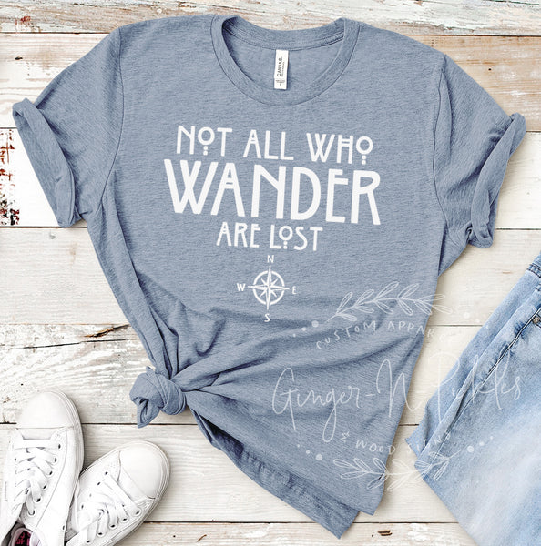 Not All Who Wander Are Lost Short Sleeve Shirt, Compass Shirt, Adventure and Hiking Shirt