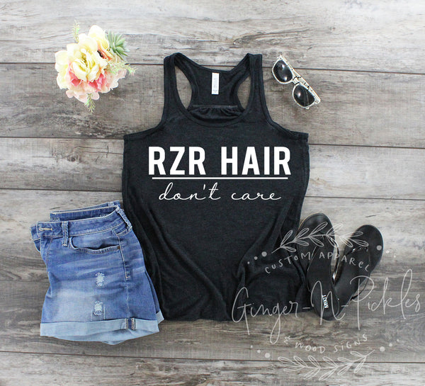 RZR Hair Don't Care Ladies Flowy Racerback Tank, Ladies UTV Riding Shirt Side by Side 4 Wheeling Outdoors Mudding Womens Dunes Shirt