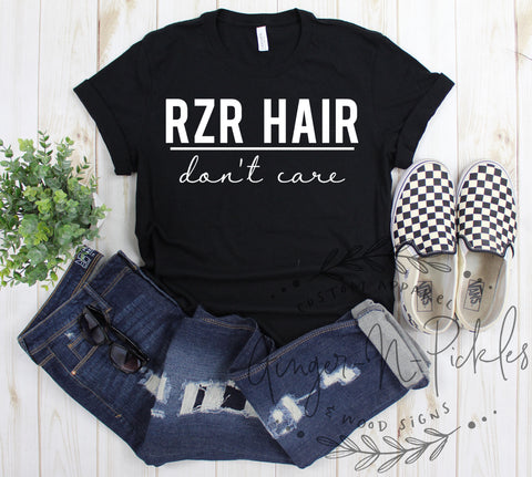 RZR Hair Don't Care Short Sleeve or Long Sleeve T-Shirt, RZR Hair Dont Care Shirt, Ladies UTV Side by Side 4 Wheeling Mudding Dunes Shirt