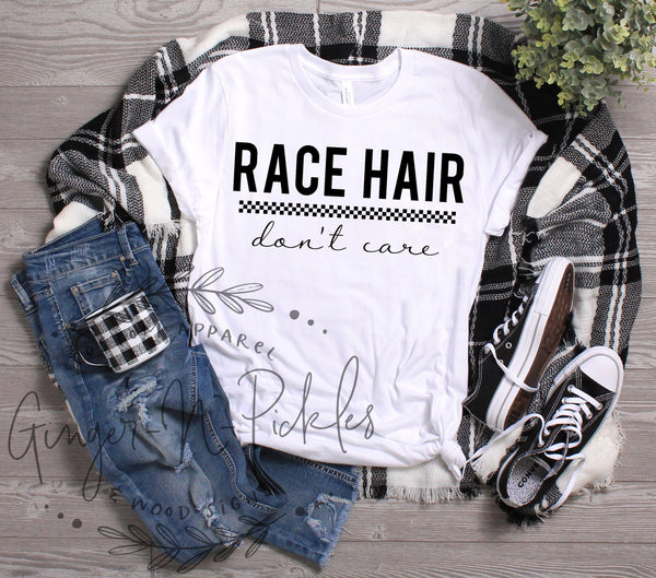 Race Hair Don't Care Shirt, Short or Long Sleeve Dirt Bike Racing Shirt Dirt Bike Mom Offroad Racing Dirt Track Racing Race Moto Mom Shirt
