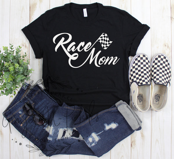 Race Mom Unisex Short Sleeve T-Shirt, Moto Mom Dirt Bike Dirt Track Offroad Racing Shirt, Checkered Flag Race Mom Shirt