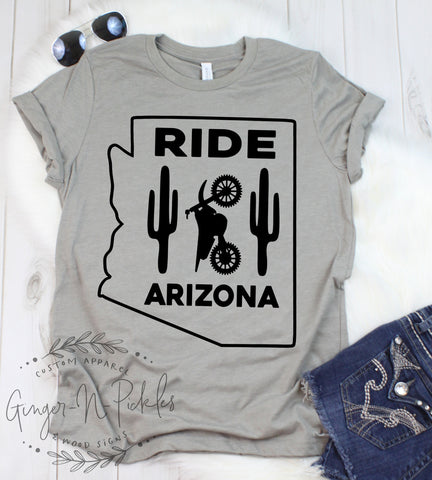Ride Arizona Short Sleeve Shirt, Ride Arizona Dirt Bike Shirt Dual Sport Rider Offroad Racing Adventure Rider Shirt