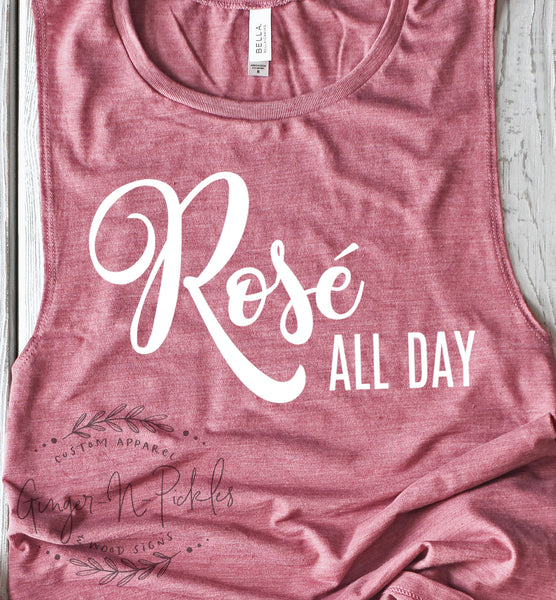 Rose All Day Muscle Tank, Wine Drinkers Tank Top, Rose Wine Shirt, Girls Night Out Shirt Drinking Tank Top Wine Lovers Shirt Wine Lover Gift
