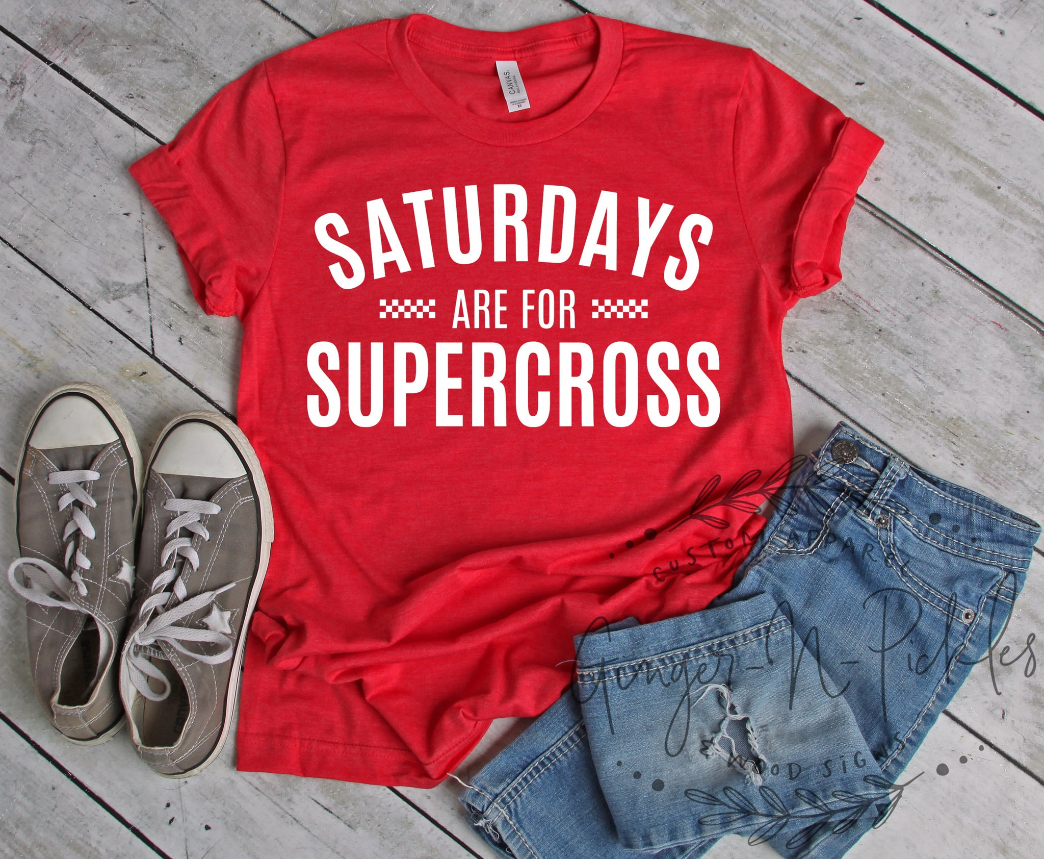 Saturdays Are For Supercross Shirt, Short Sleeve Unisex T-Shirt Dirt Bike Moto Racing Race Day Shirt Custom Supercross Shirt