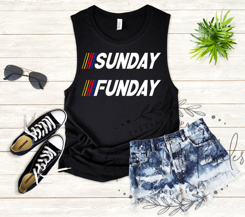 Sunday Funday Ladies Race Day Stock Car Fan Muscle Tank Top Shirt, Car Racing Shirts, Raceday Shirts, Fast Cars Beer Raceday Shirt