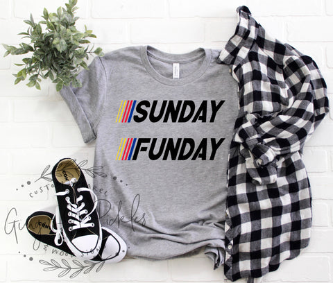 Sunday Funday Race Day Shirt Car Racing Fan Shirt Long Sleeve or Short Sleeve Race Shirt, Car Racing Shirts, Fast Cars Beer Raceday Shirt