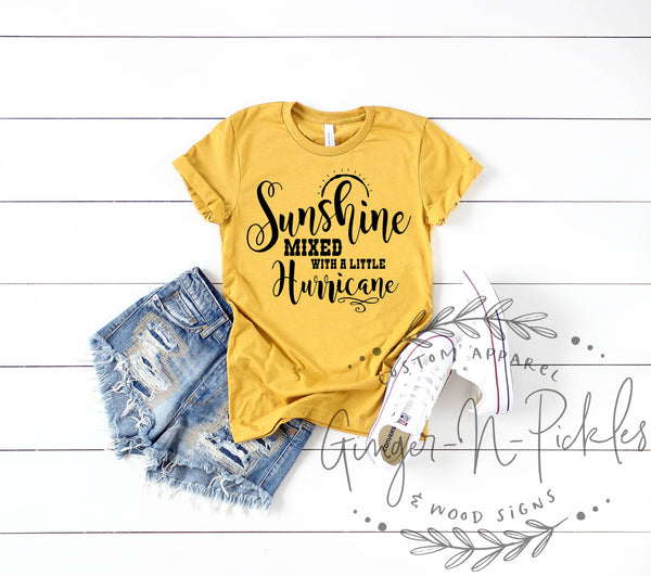 Sunshine Mixed With A Little Hurricane Shirt, Short Sleeve or Long Sleeve Country Music Shirt, Sassy Southern Girl Country Concert Tshirt