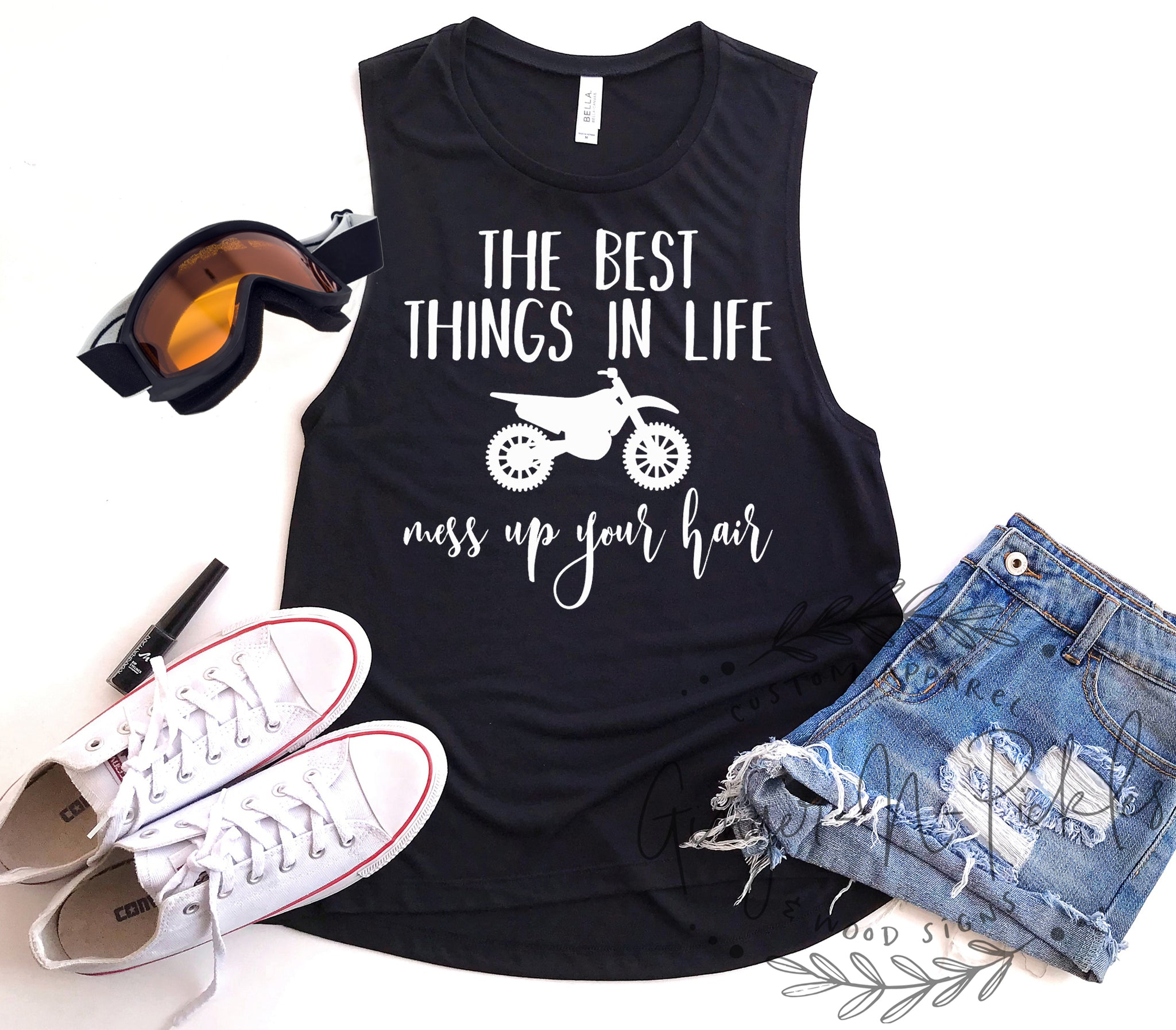 The Best Things In Life Mess Up Your Hair Ladies Dirt Bike Shirt, Funny Ladies Muscle Tank, Moto Mom Shirt, Moto Chick Shirt