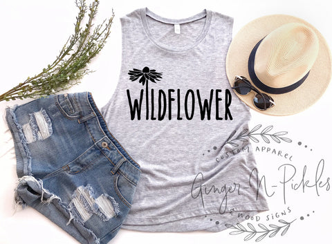 Wildflower Muscle Tank, In A Field of Roses Be A Wildflower Shirt, Free Spirit Shirt, Gypsy Soul Shirt, Cute Free Muscle Tank