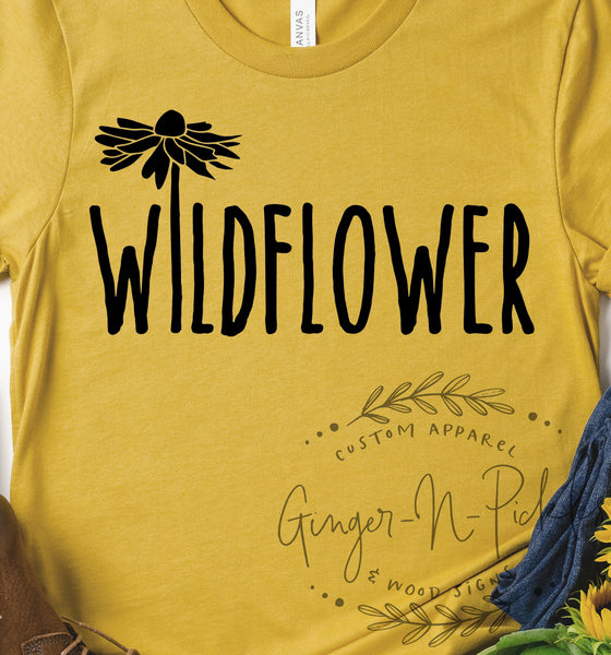 Wildflower Shirt, In A Field of Roses She's A Wildflower Shirt, Unisex Style T-Shirt, Free Spirit Gypsy Soul Shirt