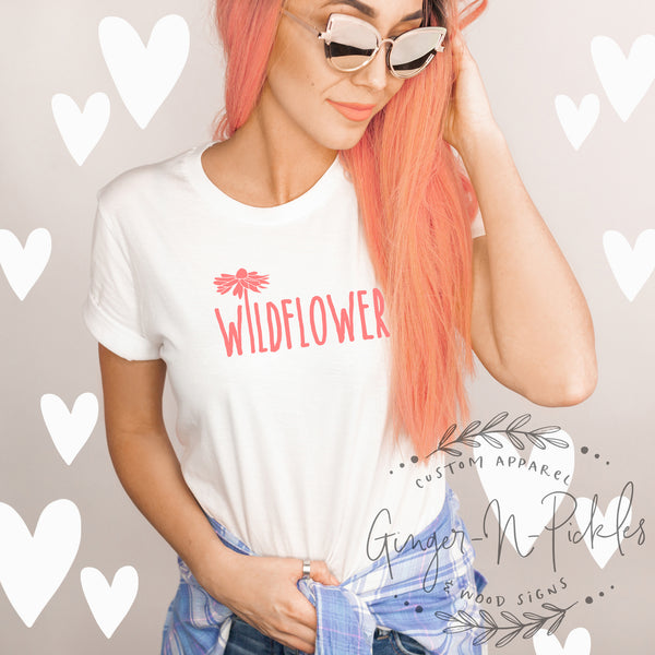 Wildflower Shirt, In A Field of Roses She's A Wildflower Shirt, Boyfriend Style Unisex T-Shirt, Free Spirit Gypsy Soul Shirt