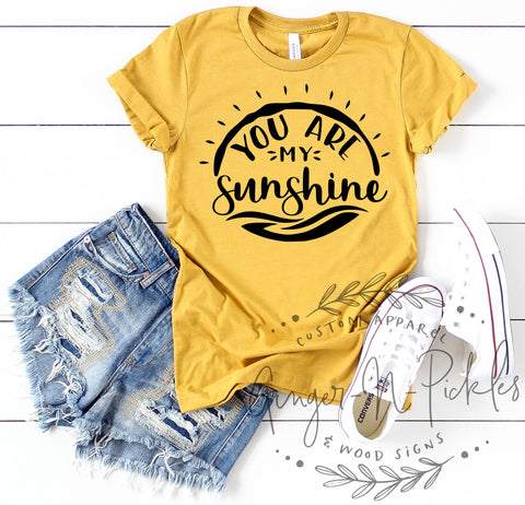 You Are My Sunshine Shirt, You Are My Sunshine My Only Sunshine Song Lyrics Short Sleeve Sleeve T-Shirt