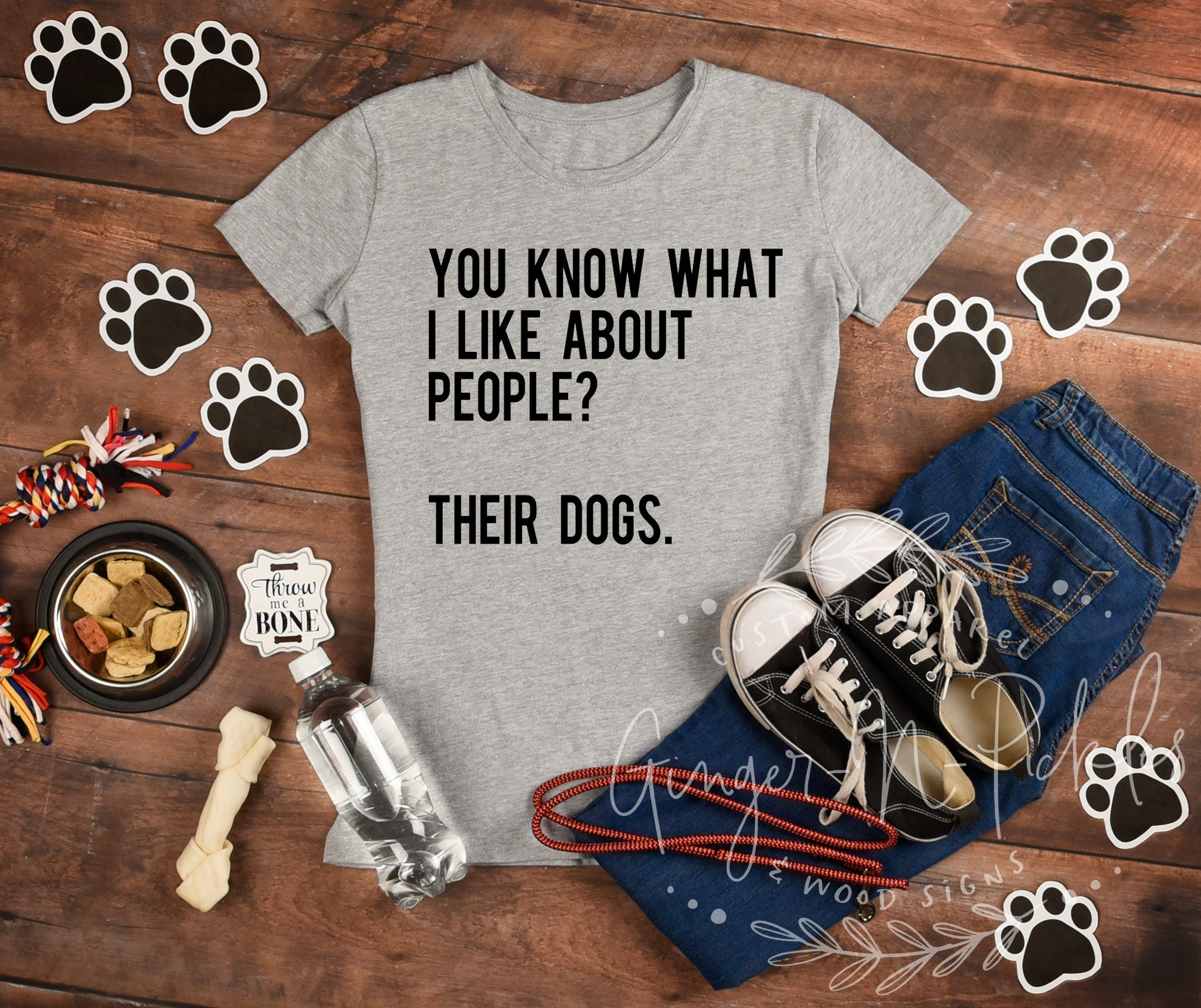 You Know What I Like About People? Their Dogs Funny Dog Mom Shirt, Ladies Slim Fit Scoopneck Tee