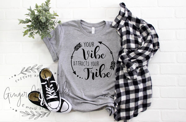 Your Vibe Attracts Your Tribe Shirt, Vintage Style Graphic Tee, Boho Chic Tee, Short Sleeve T-Shirt, Good Vibes Shirt, Hippie Shirt