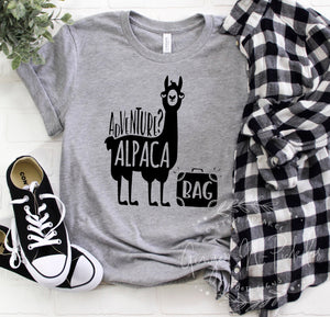Adventure Alpaca Bag T-Shirt, Vintage Style Graphic Tee, Boyfriend Style T-Shirt, Adventure and Hiking Shirt, Llama Shirt, Alpaca Shirt