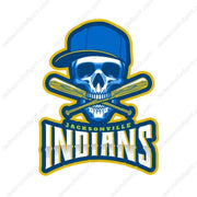 Jacksonville Indians T-shirt 2020 Baseball Skull Cross Bat
