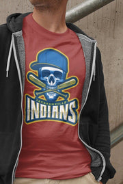 Jacksonville Indians T-shirt 2020 Baseball Skull Cross Bat - Jacksonville Texas Indian Apparel