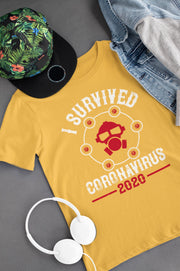 Corona Virus Awareness T-Shirt I Survived Coronavirus 2020 Xs / Gold Shirts