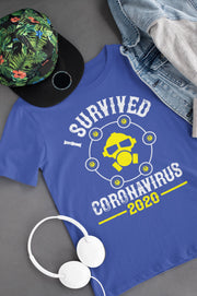 Corona Virus Awareness T-Shirt I Survived Coronavirus 2020 Xs / True Royal Shirts