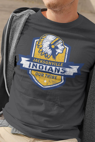 Jacksonville Indian T-Shirt Our Tribe Blue Shield Xs / Dark Grey Shirts