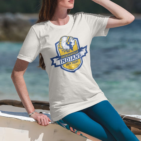 Jacksonville Indian T-Shirt Our Tribe Blue Shield Xs / White Shirts