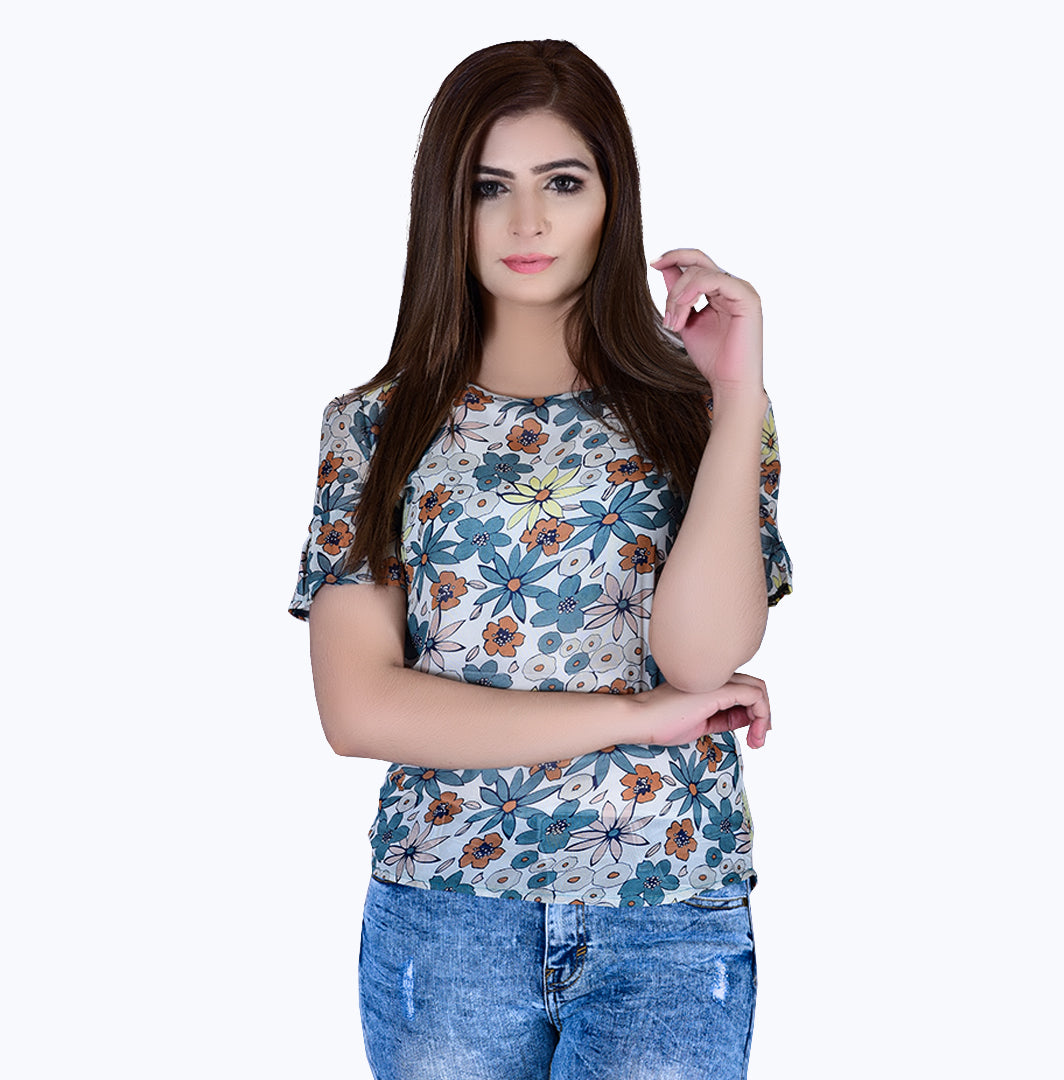 Multi Color Flower Top