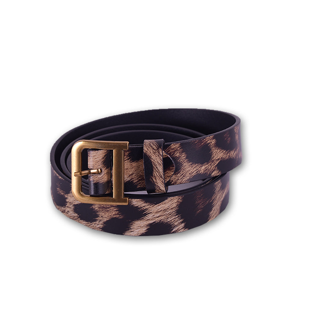 Tiger Print Women Belt Red, Brown