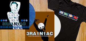 Brainiac Electro-Shock for President White Vinyl + Hissing Prigs in Static Couture Blue Vinyl + T-Shirt
