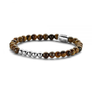 Brown Tigereye Beads Bracelet with Stainless Steel Bead