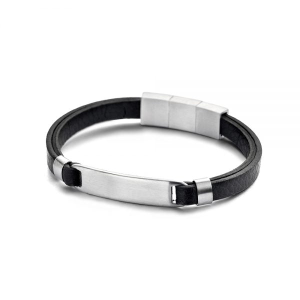 Black leather bracelet with steel element
