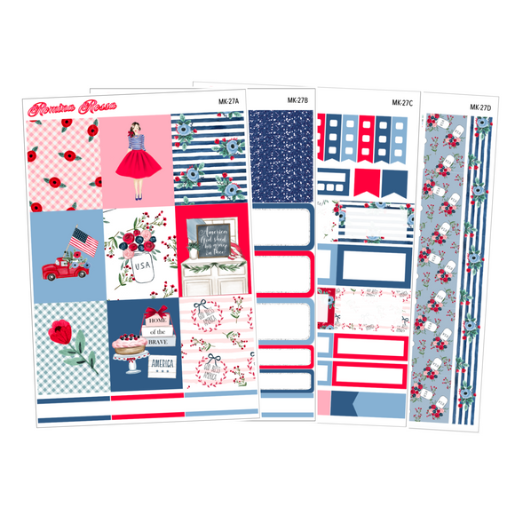 Red, White and Blue - Weekly Sticker Kit Sheets (FOILED & NON FOILED)
