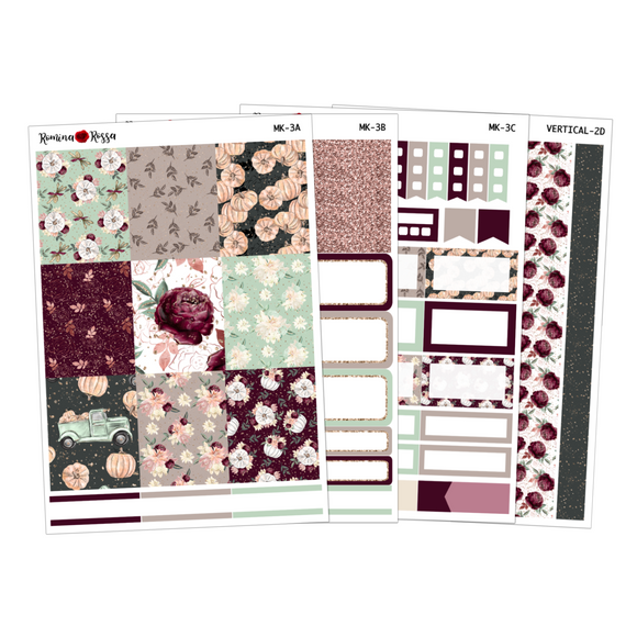Burgundy Fall - Weekly Sticker Kit Sheets
