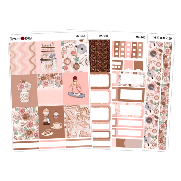 Coffee Time - Weekly Sticker Kit Sheets (FOILED & NON FOILED)