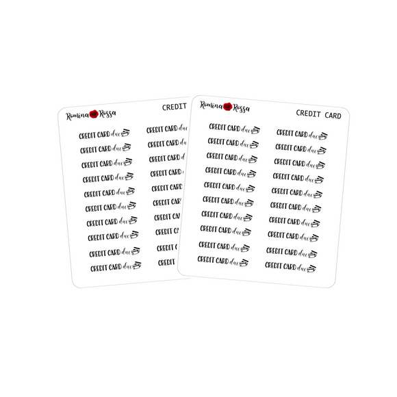 Credit Card Due Stickers - Decorative Planner Stickers