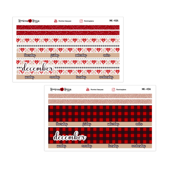 December Monthly Stickers | 7x9 Planner, 8.5x11 Planner & Petite Planner