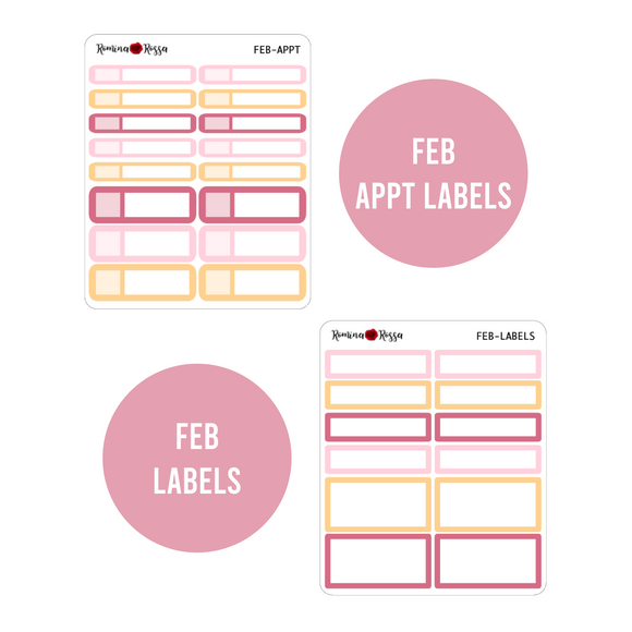 February Monthly Labels | EC & Plum Paper 7x9 Planner