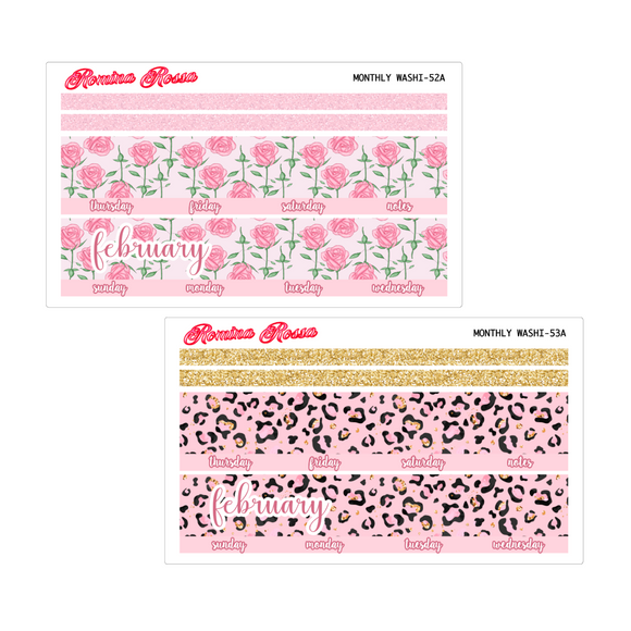 February Monthly Stickers | 7x9 Planner, 8.5x11 Planner & Petite Planner