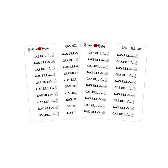 Gas Bill Due Stickers - Decorative Planner Stickers