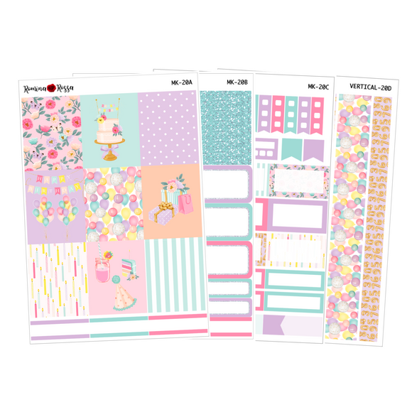 Happy Birthday - Weekly Sticker Kit Sheets (FOILED & NON FOILED)