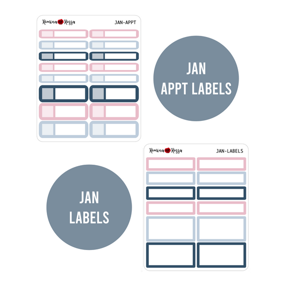January Monthly Labels | EC & Plum Paper 7x9 Planner