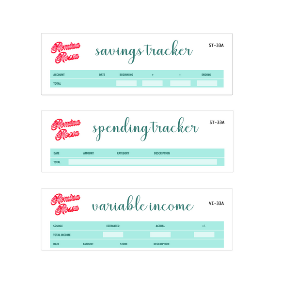 June Savings/Spending Tracker, Variable Income Tracker | 7x9, 8.5x11 & Petite Monthly Planner
